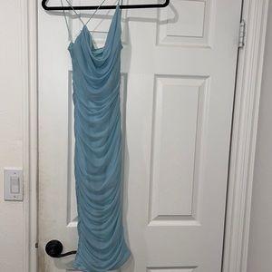 Light blue ruched dress. Cross top.